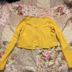 Yellow crop top with buttons